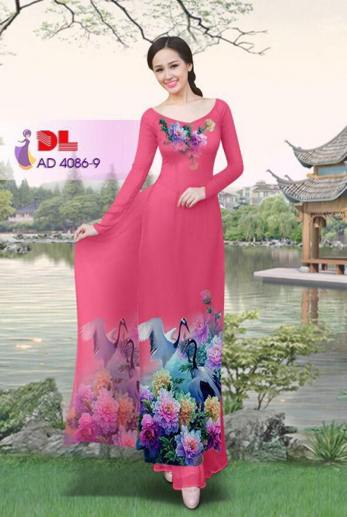 Vải áo dài Hoa mẫu đơn và Hạc16