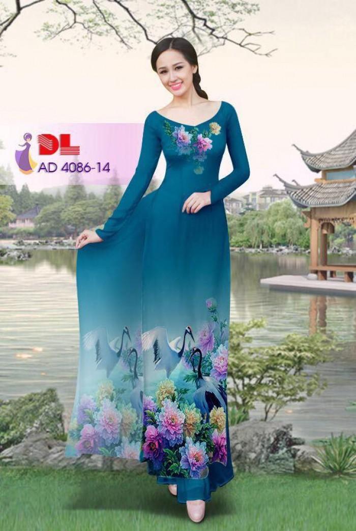 Vải áo dài Hoa mẫu đơn và Hạc18