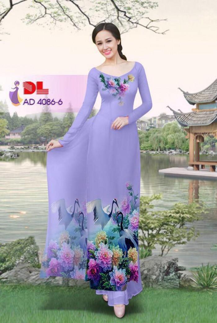 Vải áo dài Hoa mẫu đơn và Hạc19