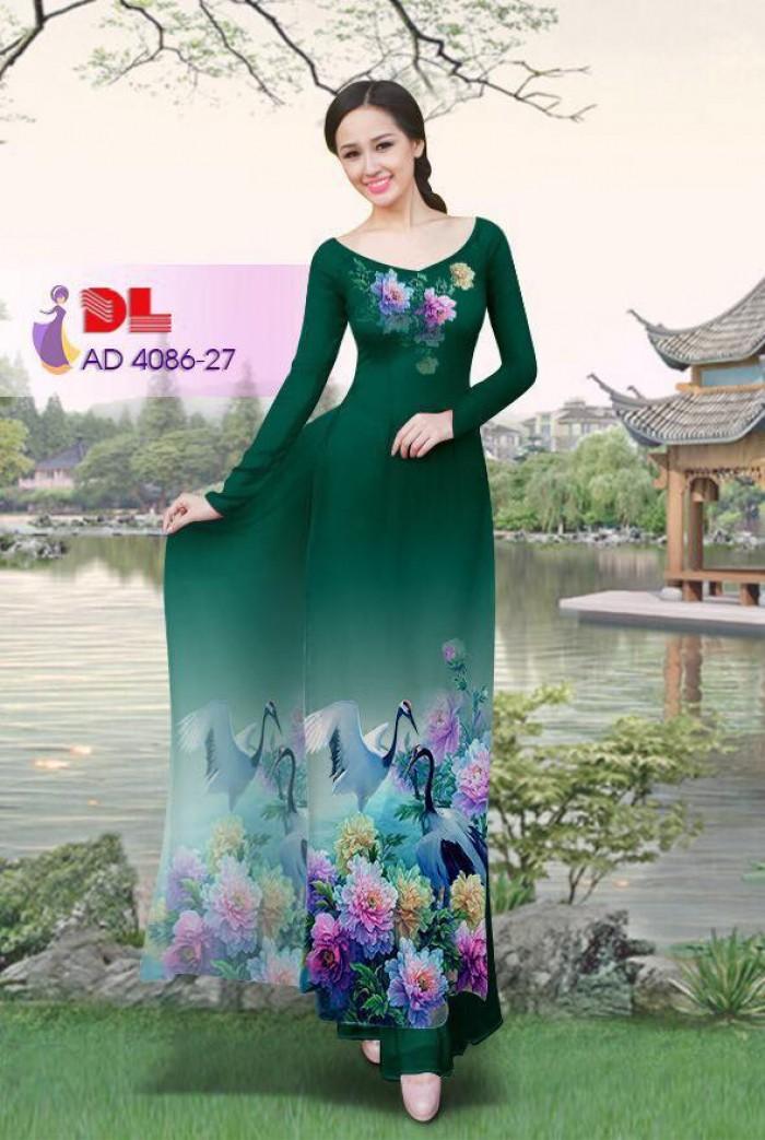 Vải áo dài Hoa mẫu đơn và Hạc21