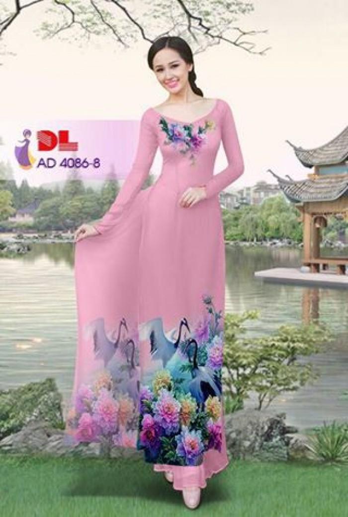 Vải áo dài Hoa mẫu đơn và Hạc22