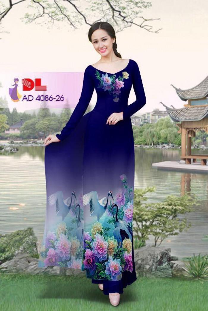 Vải áo dài Hoa mẫu đơn và Hạc23