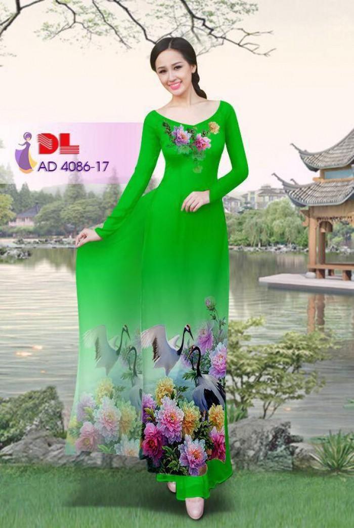 Vải áo dài Hoa mẫu đơn và Hạc24