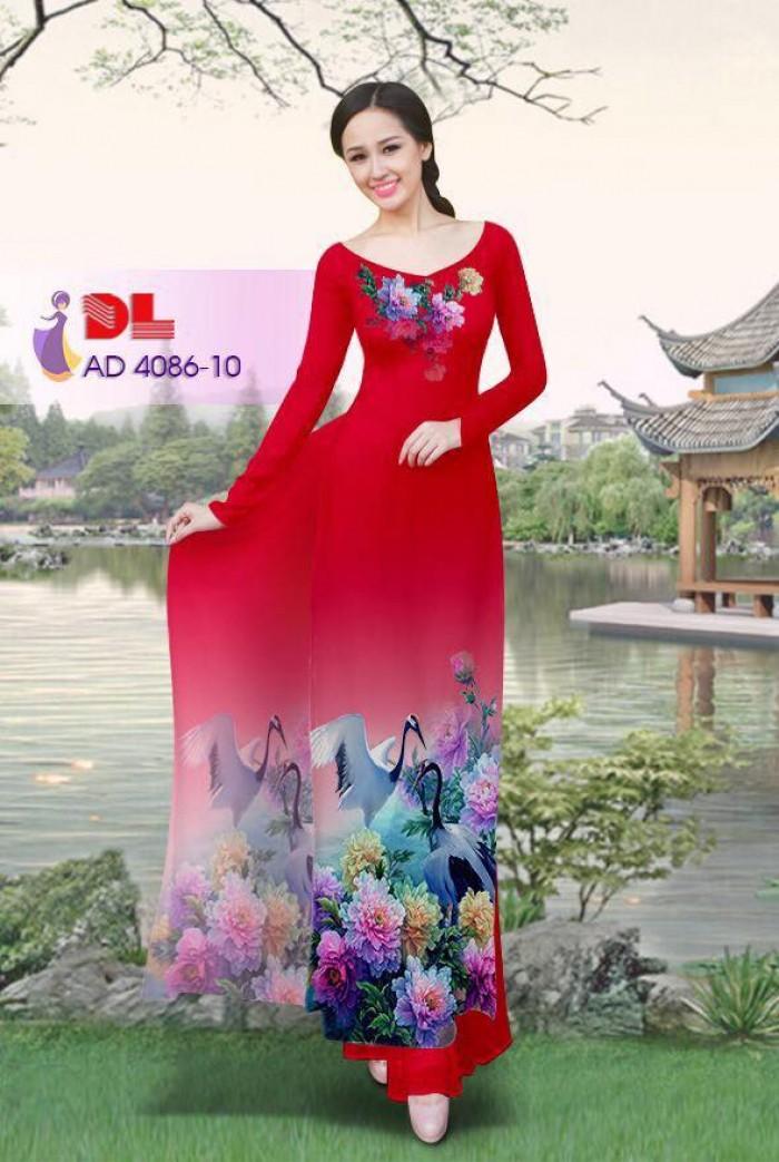 Vải áo dài Hoa mẫu đơn và Hạc25