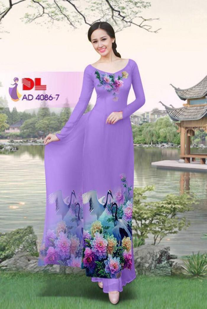 Vải áo dài Hoa mẫu đơn và Hạc26