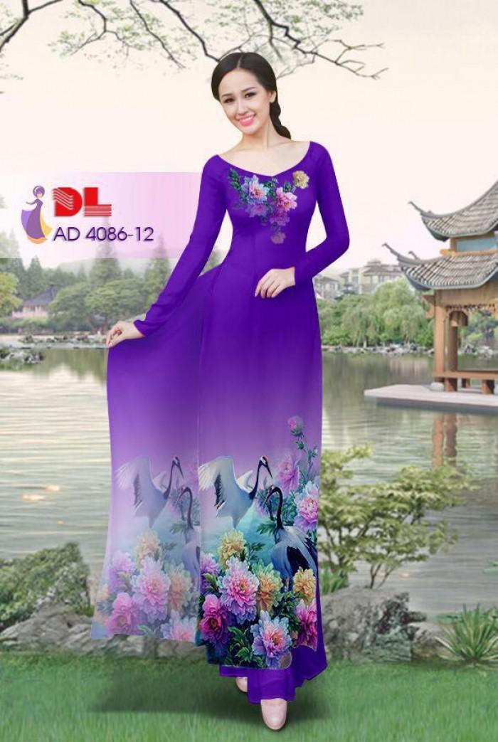 Vải áo dài Hoa mẫu đơn và Hạc27