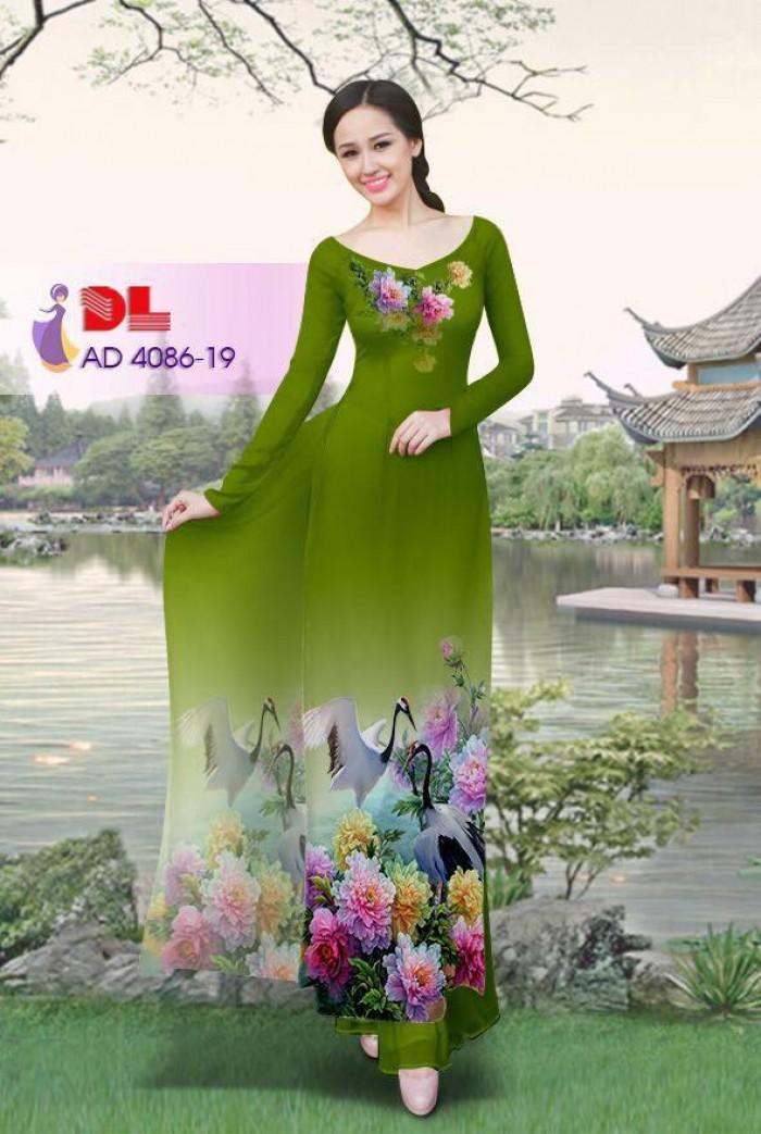 Vải áo dài Hoa mẫu đơn và Hạc28