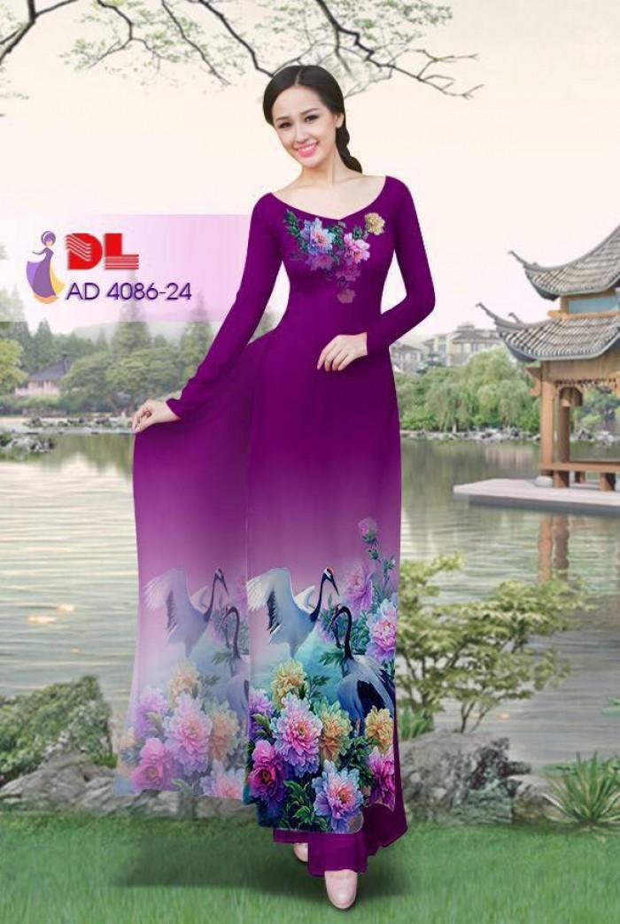 Vải áo dài Hoa mẫu đơn và Hạc29