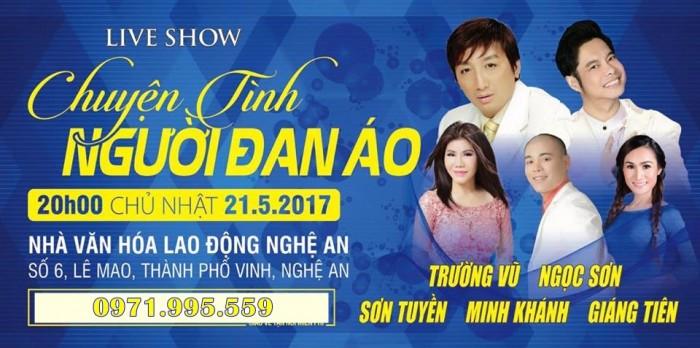 [TOP SHOWS] Bán vé liveshow Chuyện tình người đan áo Trường Vũ, Sơn Tuyền ở Nghệ An ngày 21/5