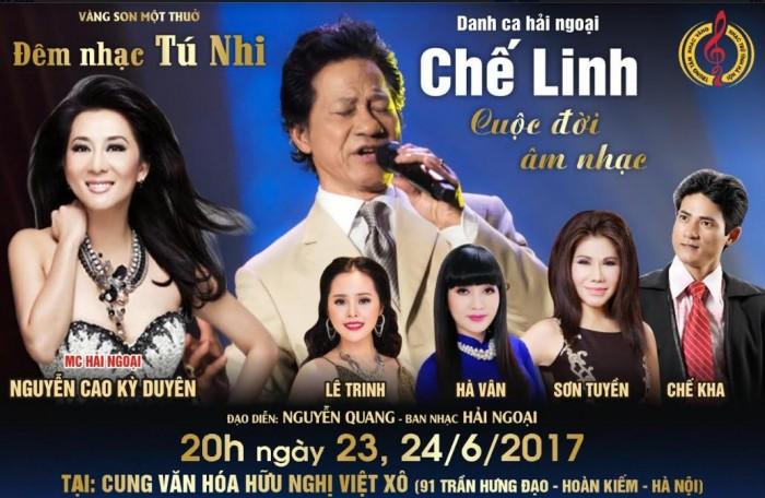 Hot show Liveshow Chế Linh tại Hà Nội 23-24/6/2017, Đêm nhạc Tú Nhi Cuộc đời âm nhạc