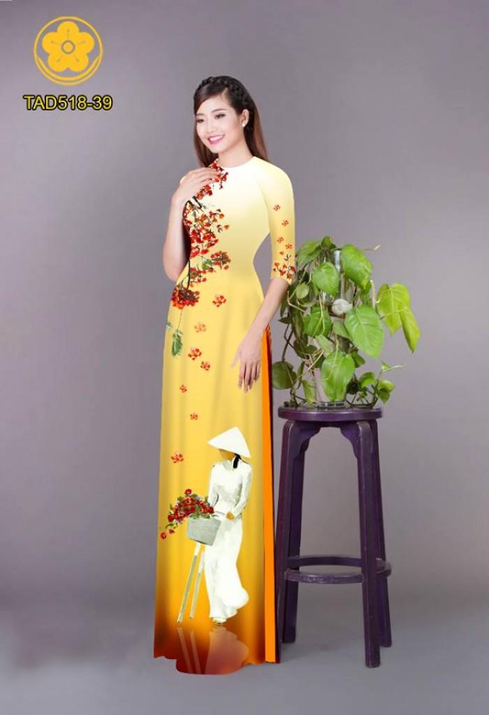 Vải áo dài nữ sinh và hoa phượng0