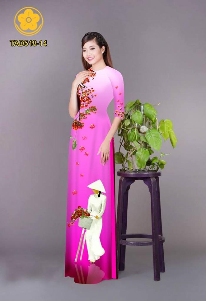 Vải áo dài nữ sinh và hoa phượng1