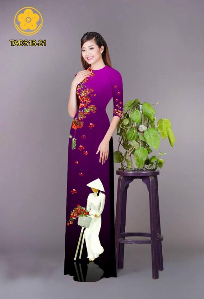 Vải áo dài nữ sinh và hoa phượng2