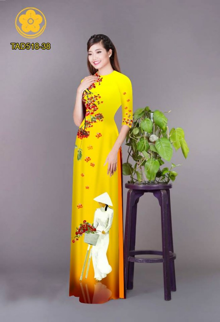 Vải áo dài nữ sinh và hoa phượng3