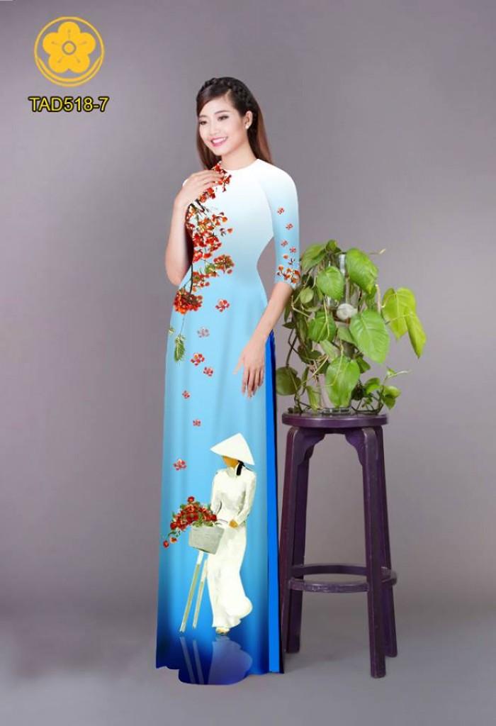Vải áo dài nữ sinh và hoa phượng5
