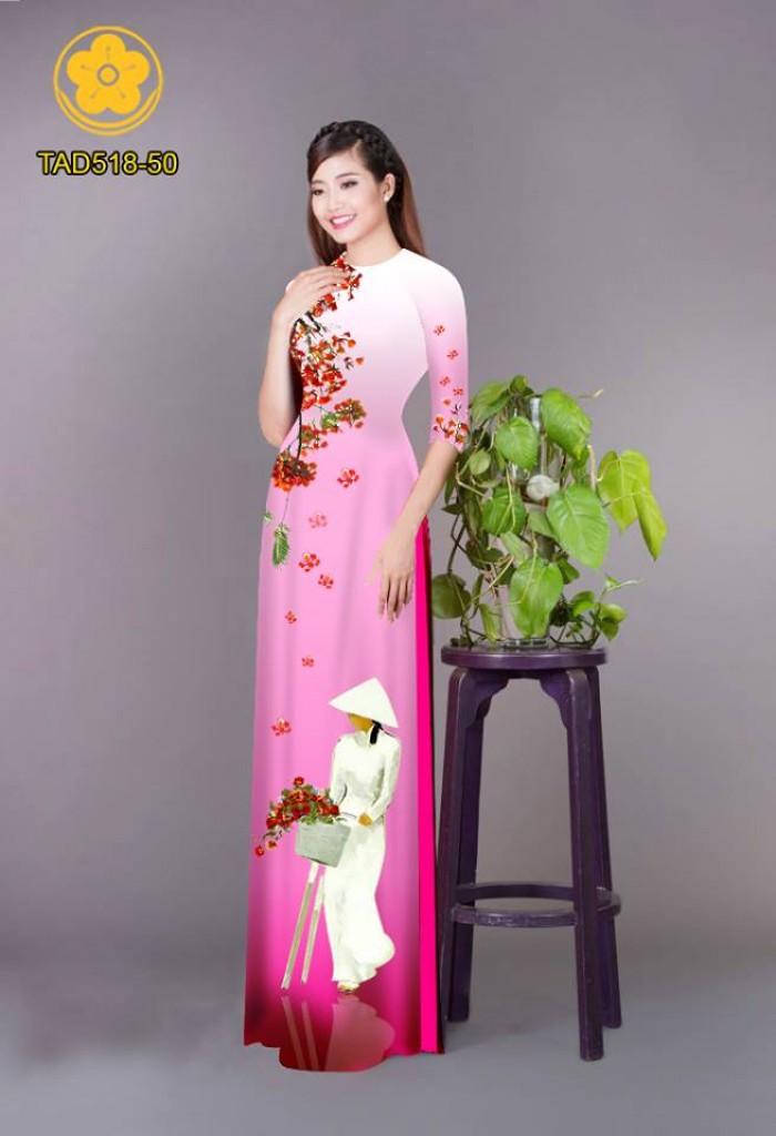 Vải áo dài nữ sinh và hoa phượng6