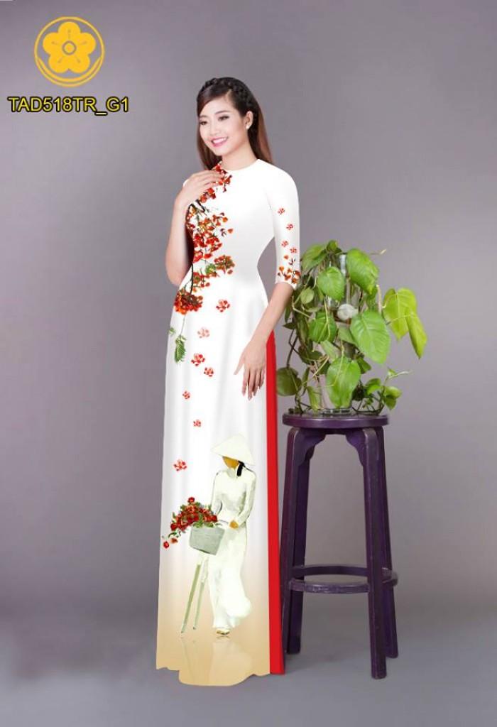 Vải áo dài nữ sinh và hoa phượng11