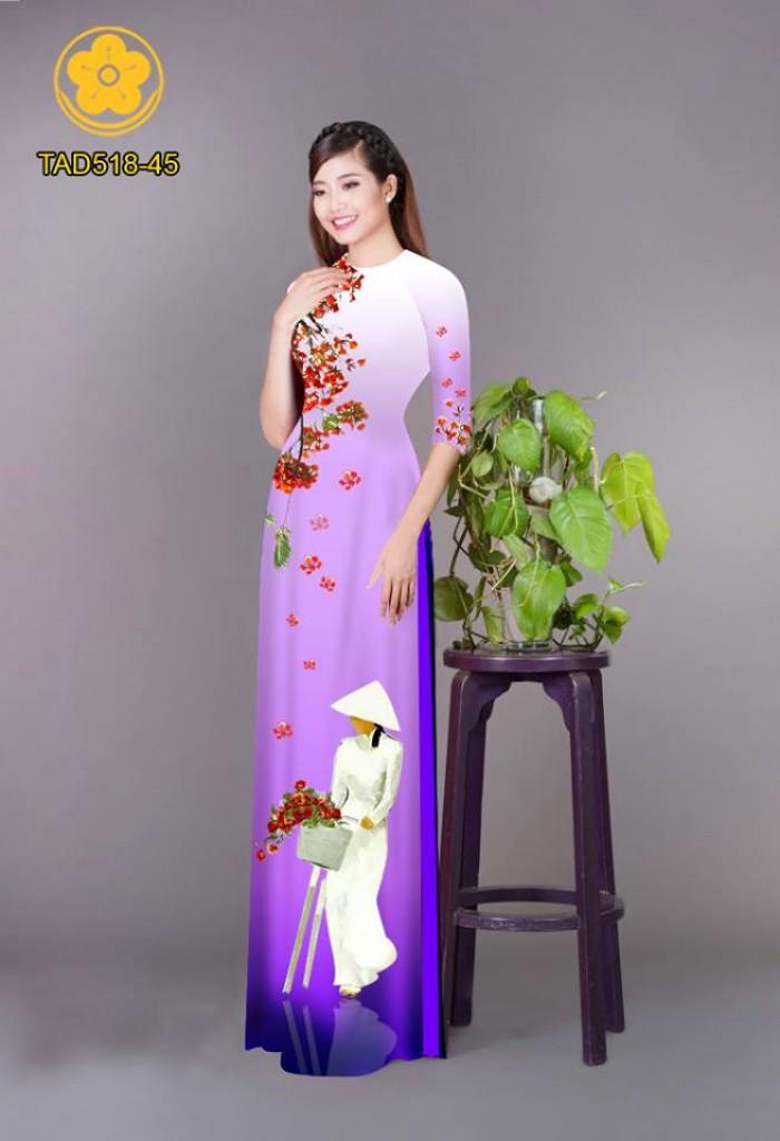 Vải áo dài nữ sinh và hoa phượng13