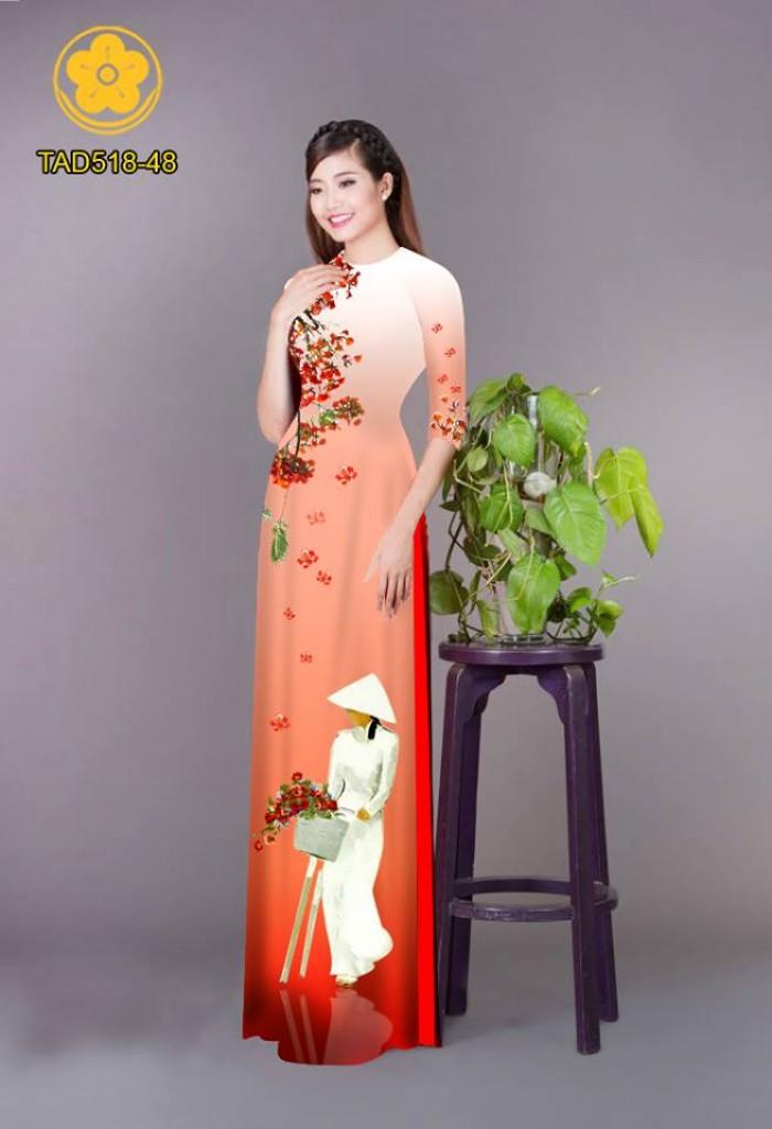 Vải áo dài nữ sinh và hoa phượng15