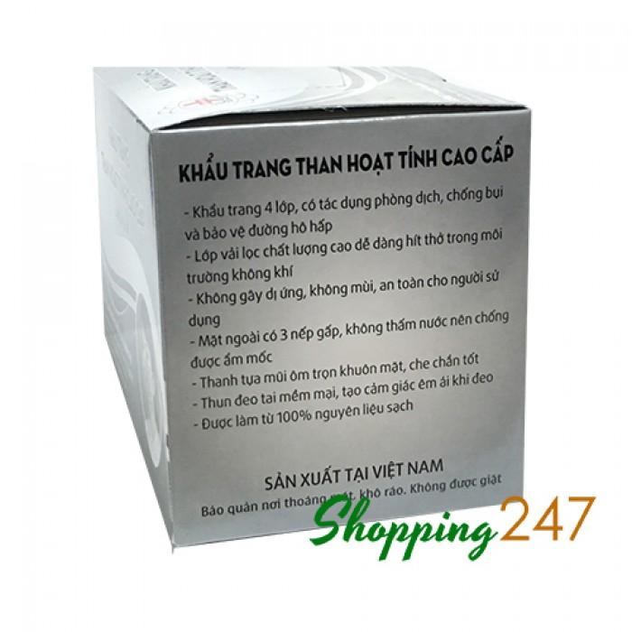 Combo 2 hộp Khẩu trang kháng khuẩn cao cấp 4 lớp than hoạt tính lọc 99,9% bụi khuẩn.