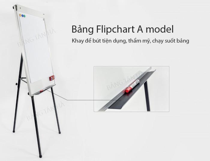 Bảng kẹp giấy  Flipchart Hàn Quốc  A Model - Kích thước mặt Bảng: 70x100cm - Mặt Bẳng bằng thép từ tính Hàn Quốc (có đừng kẻ ô vuông mờ 5x5cm) - Kiểu chân: 3 chân rút0