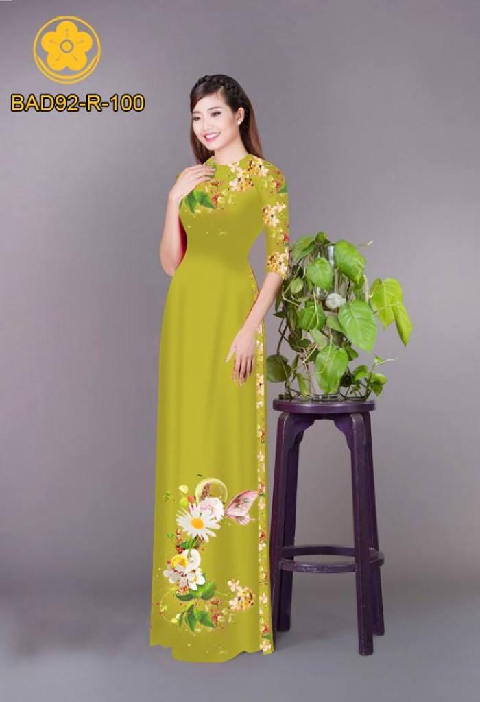 Vải áo dài hoa cúc1