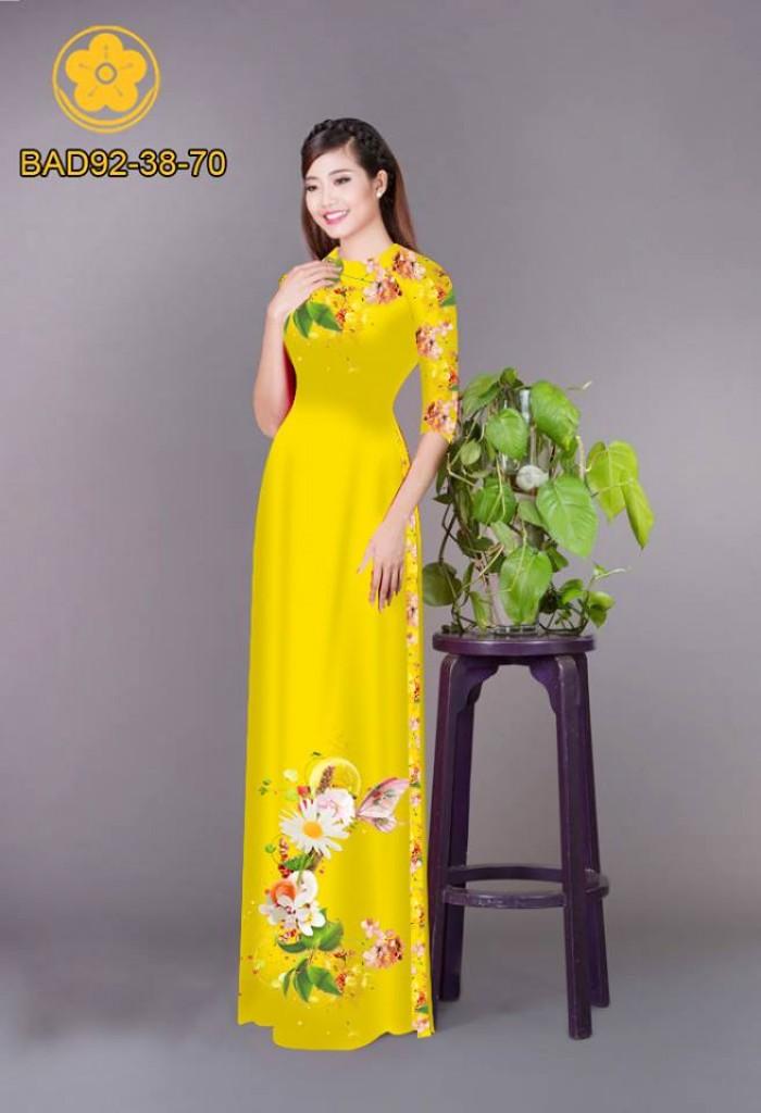 Vải áo dài hoa cúc0