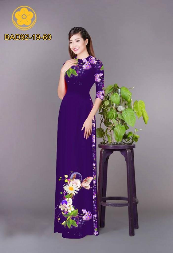 Vải áo dài hoa cúc2