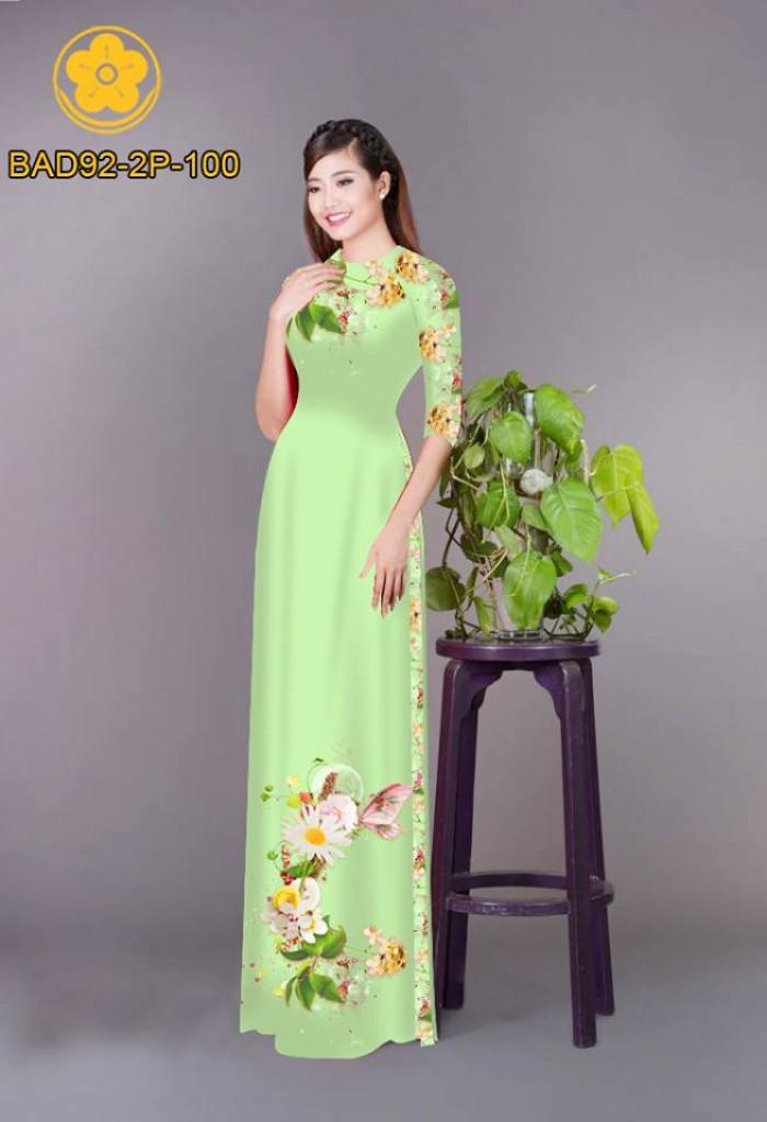 Vải áo dài hoa cúc3