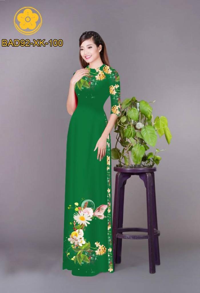 Vải áo dài hoa cúc10