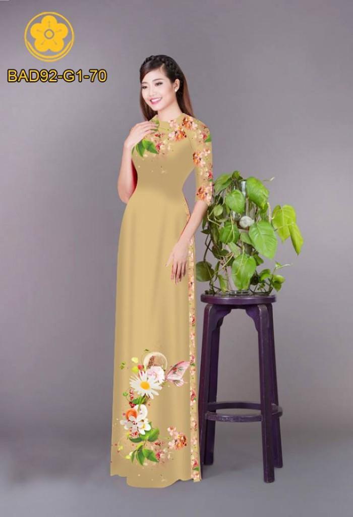 Vải áo dài hoa cúc13