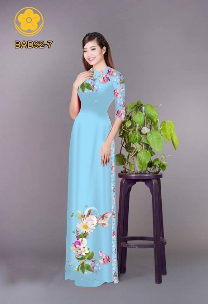 Vải áo dài hoa cúc14