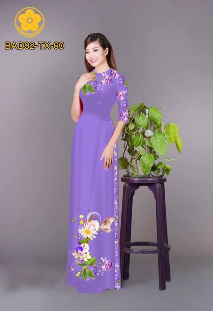 Vải áo dài hoa cúc15