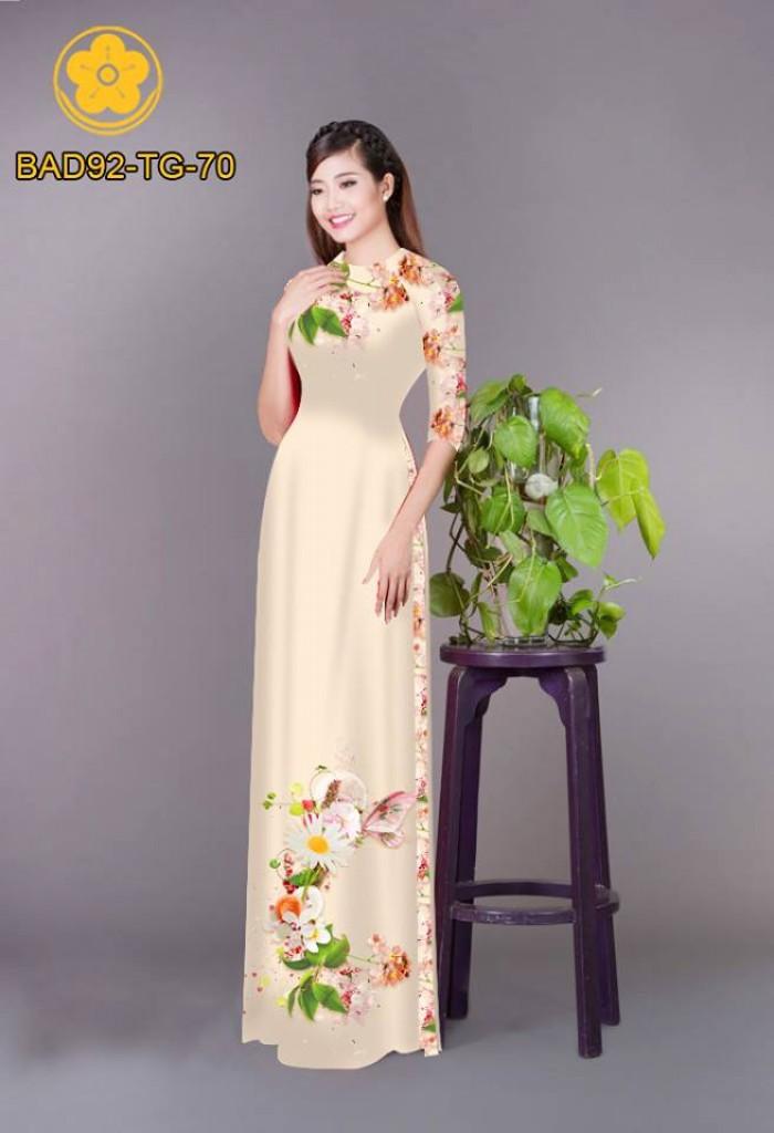 Vải áo dài hoa cúc18