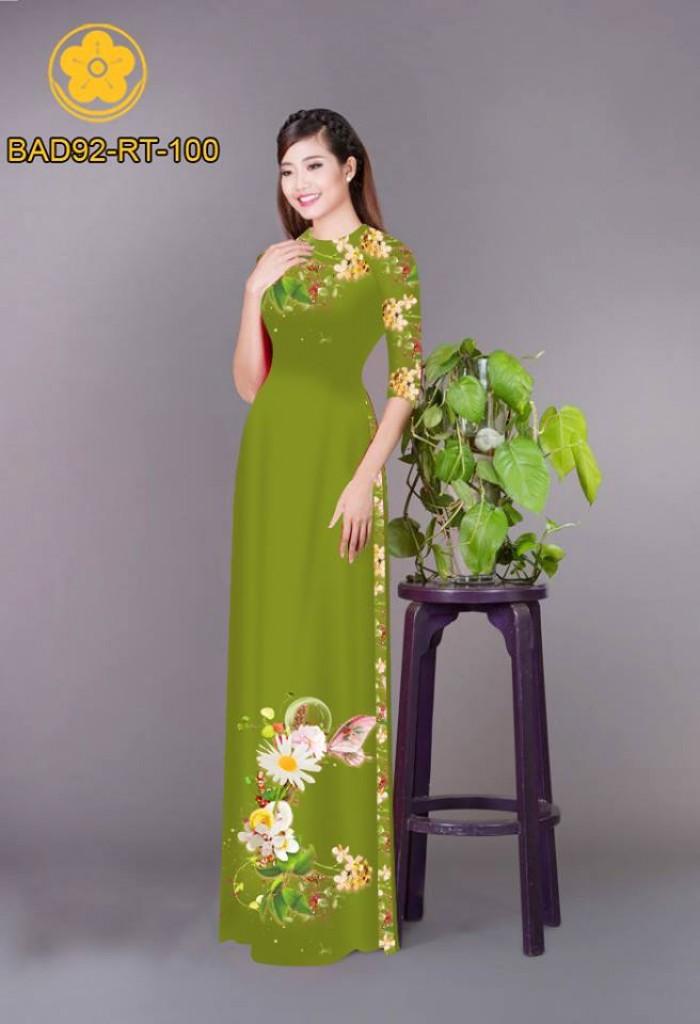 Vải áo dài hoa cúc19