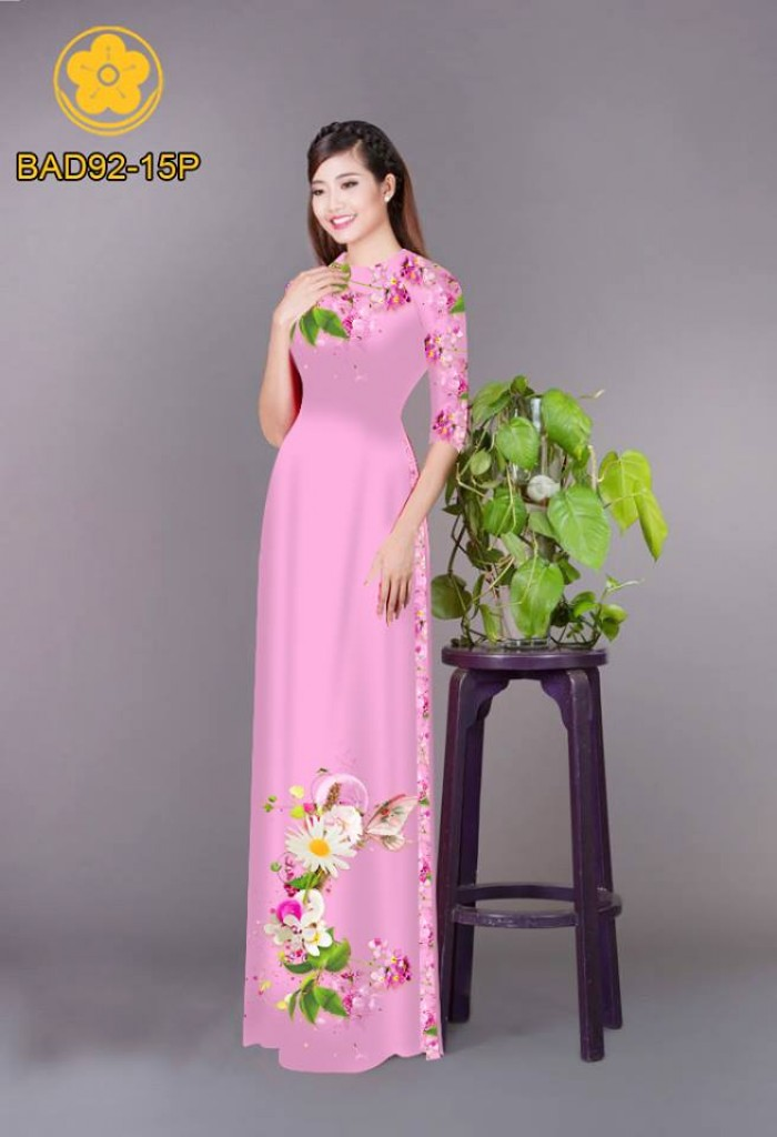 Vải áo dài hoa cúc23