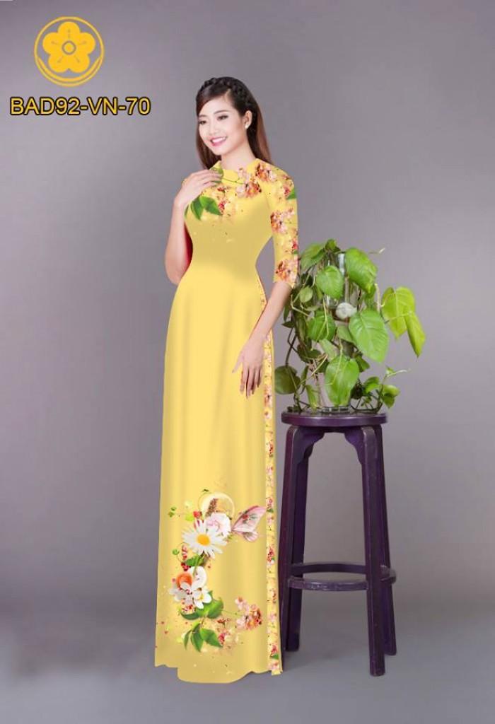 Vải áo dài hoa cúc25