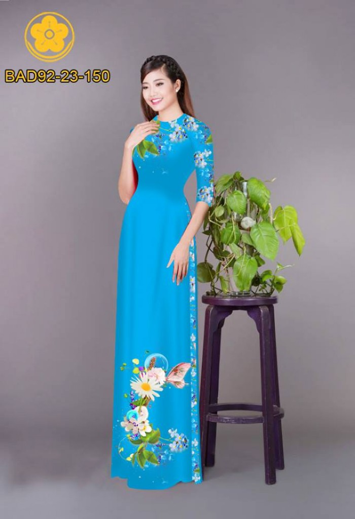 Vải áo dài hoa cúc28