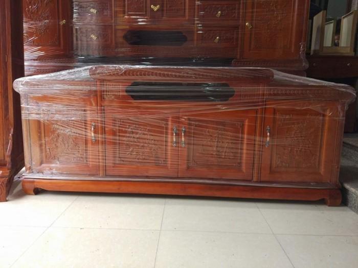 Kệ tivi nồi giữa gỗ xoan đào2