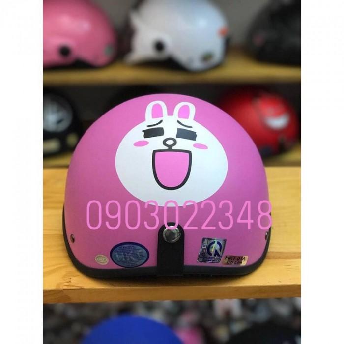 Nón 1/2 đầu đi phượt thời trang MS8 biểu tượng thỏ cony hồng