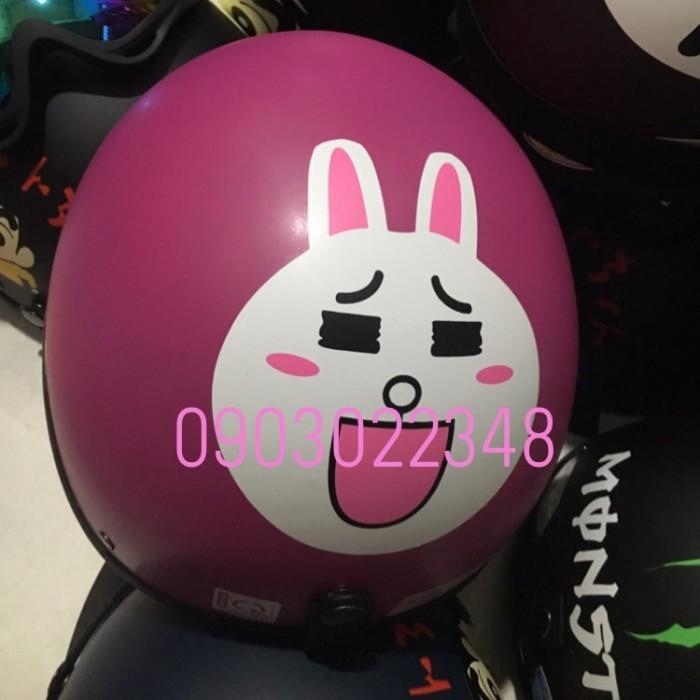 Nón 1/2 đầu đi phượt thời trang MS8 biểu tượng thỏ cony hồng 3