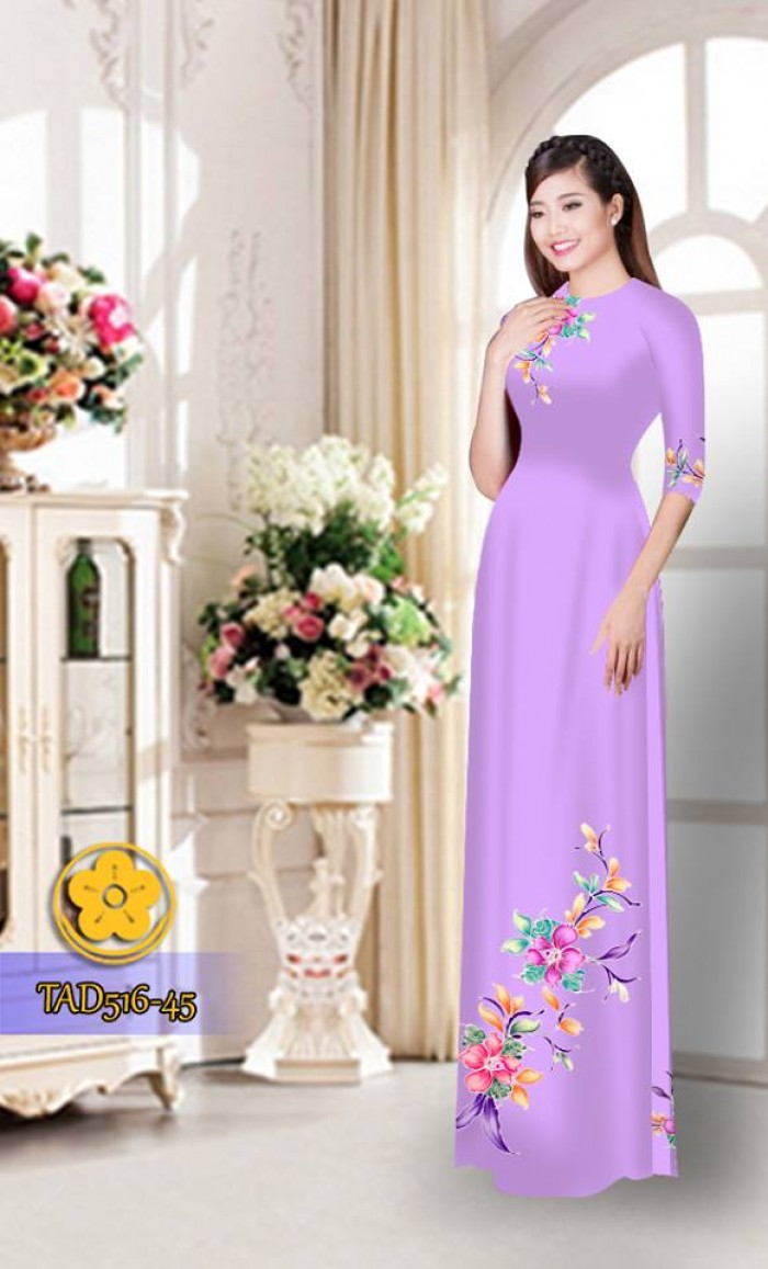 Vải áo dài hoa đẹp  TAD5160