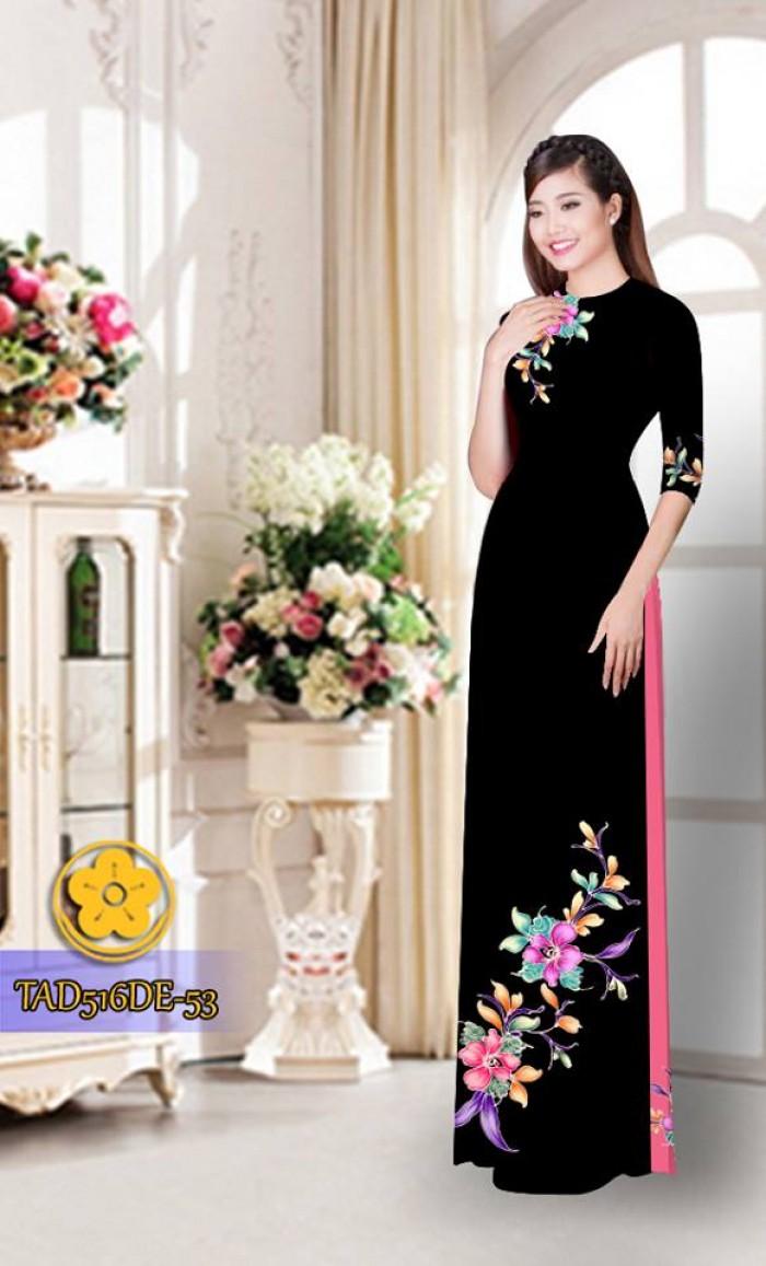 Vải áo dài hoa đẹp  TAD5161