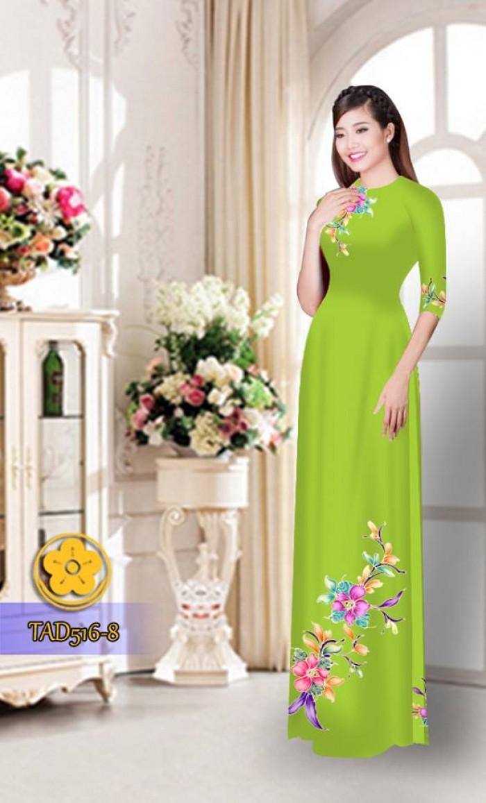 Vải áo dài hoa đẹp  TAD5163