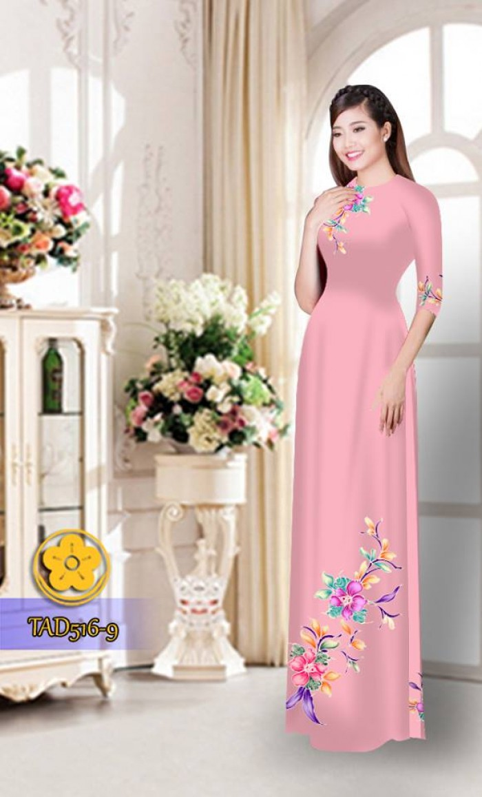 Vải áo dài hoa đẹp  TAD5162