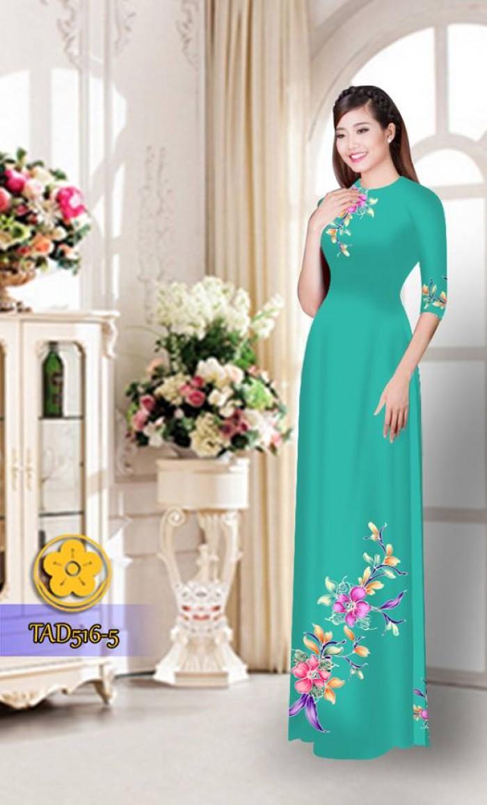 Vải áo dài hoa đẹp  TAD5164