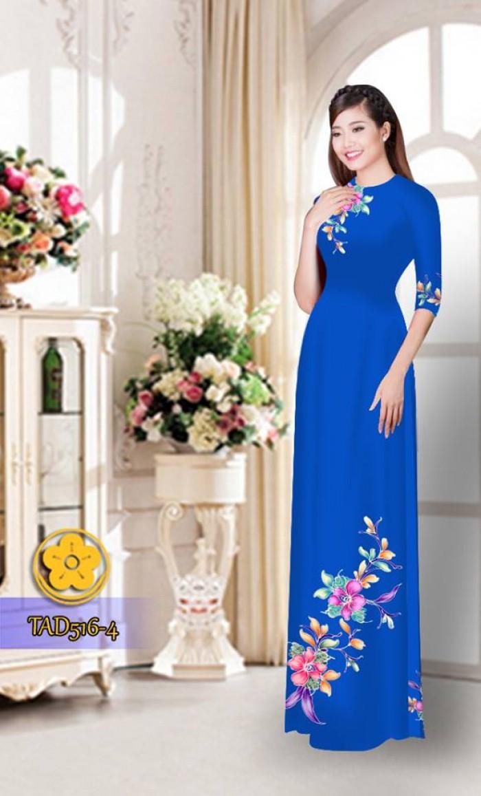 Vải áo dài hoa đẹp  TAD5166