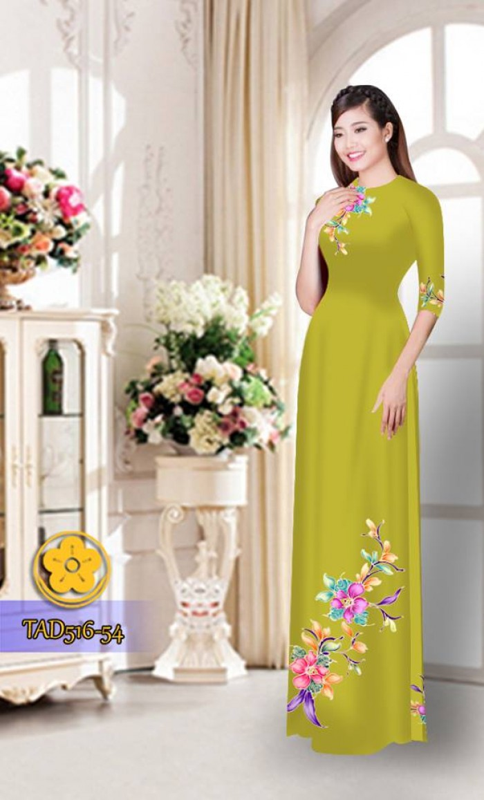 Vải áo dài hoa đẹp  TAD5167