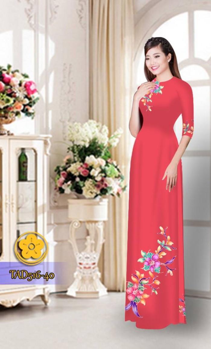 Vải áo dài hoa đẹp  TAD5168