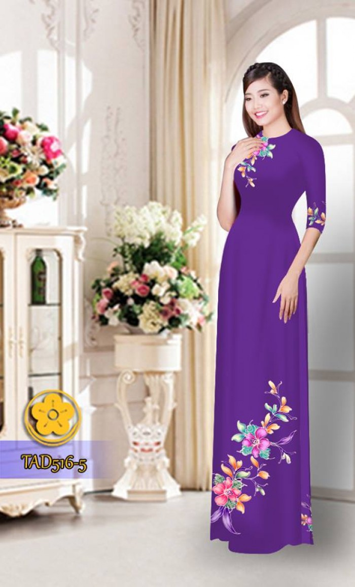 Vải áo dài hoa đẹp  TAD5169